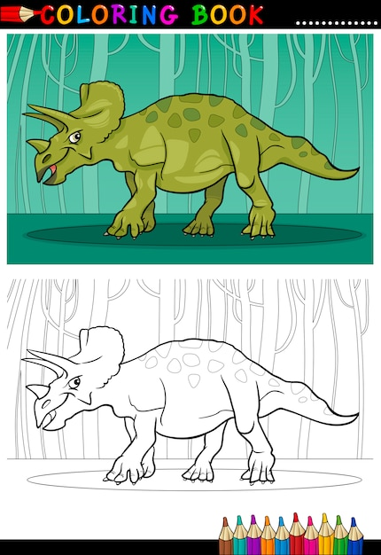 Dinosaurio de triceratops de dibujos animados para colorear libro ...