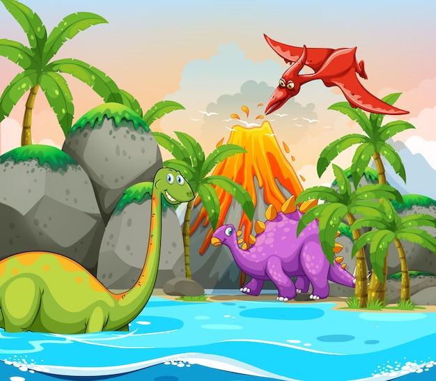 Dinosaurio en la naturaleza vector gratuito