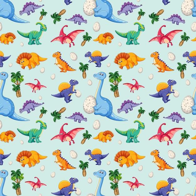 Dinosaurio en patrón transparente vector gratuito