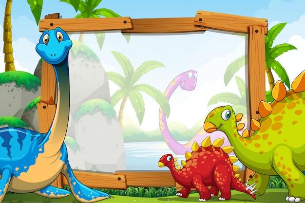 Dinosaurios Alrededor Del Marco De Madera