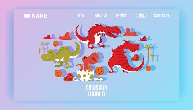 Dinosaurios mundo cartel página de aterrizaje ilustración dibujos animados dinosaurios t-rex Vector Premium