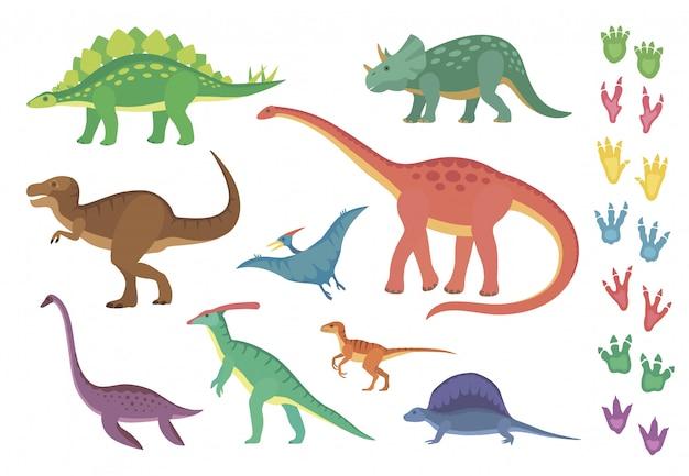 Dinosaurios y sus huellas | Vector Premium
