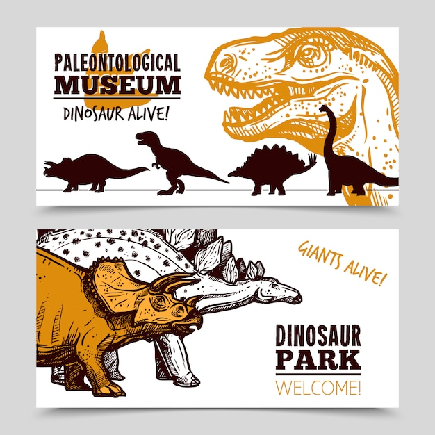 Dinosaurs museum exposition 2 banners set vector gratuito