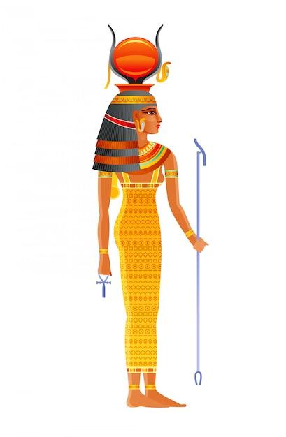 Diosa egipcia hathor, deidad del cielo con sol, cuernos de vaca. ilustración del antiguo dios egipcio. Vector Premium