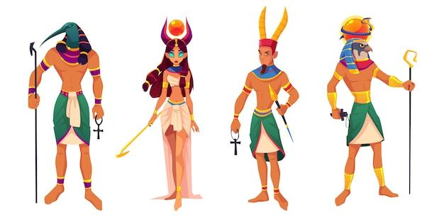 Dioses egipcios amun, ra, thoth, hathor. deidades del antiguo egipto y criaturas mitológicas con atributos de religión. vector gratuito