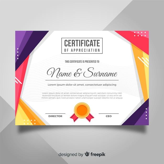 Diploma de agradecimiento vector gratuito