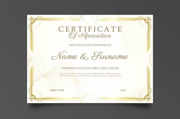 Diploma certificado de diseño moderno Vector Premium