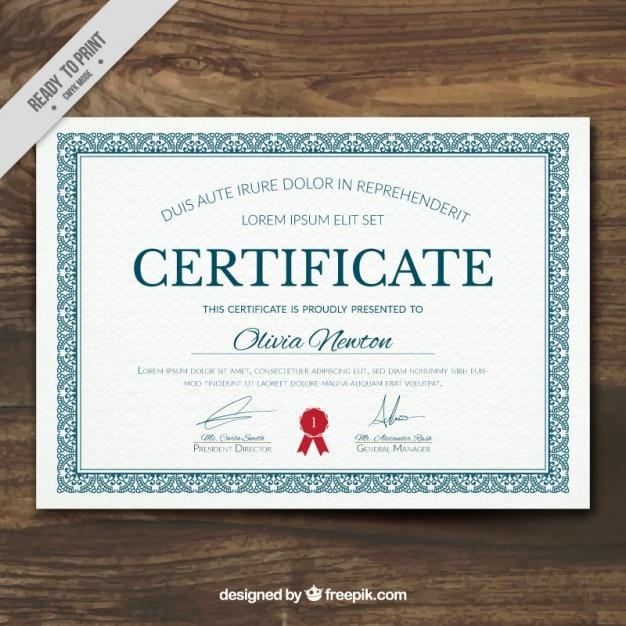 Diploma elegante con un marco ornamental | Descargar Vectores gratis