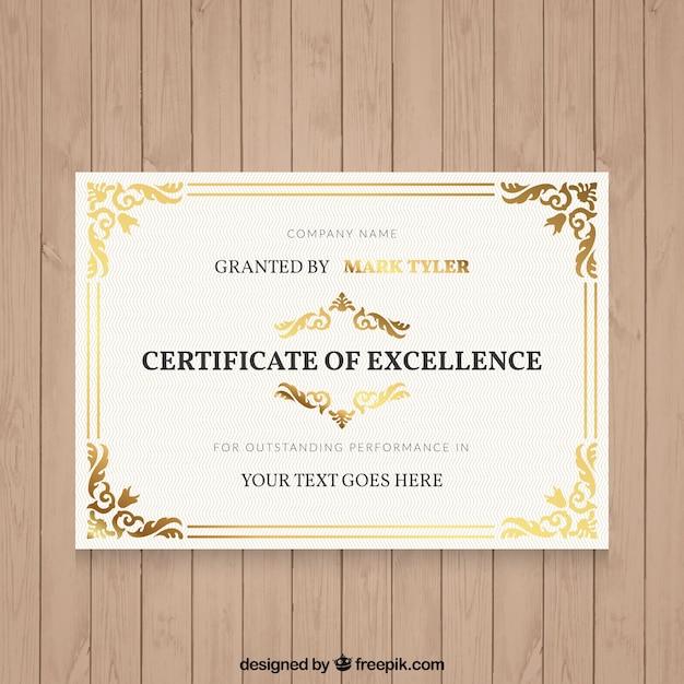 Diploma elegante con detalles ornamentales vector gratuito