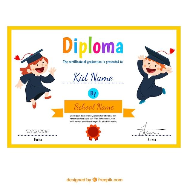Diploma niño con los niños divertidos vector gratuito