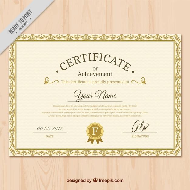 Diploma de reconocimiento dorado clásico | Descargar ...