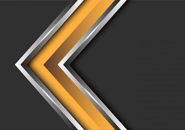 Dirección de la flecha de plata amarilla sobre fondo gris espacio en blanco. Vector Premium