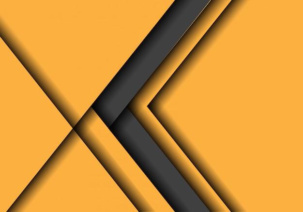 Dirección gris de la flecha en amarillo con el fondo del espacio en blanco. Vector Premium