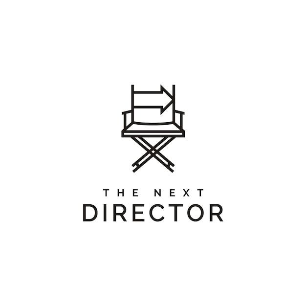 Director de cine silla y flecha derecha logo Vector Premium