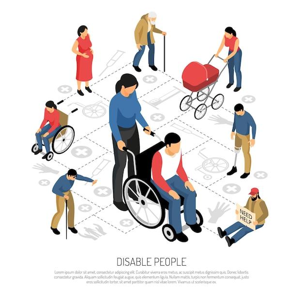 Discapacitados composición isométrica con personas embarazadas en silla de ruedas jubilados y ciegos vector gratuito
