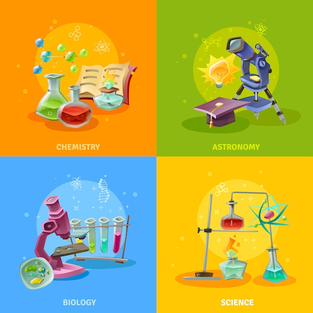 Disciplinas científicas concepto colorido vector gratuito