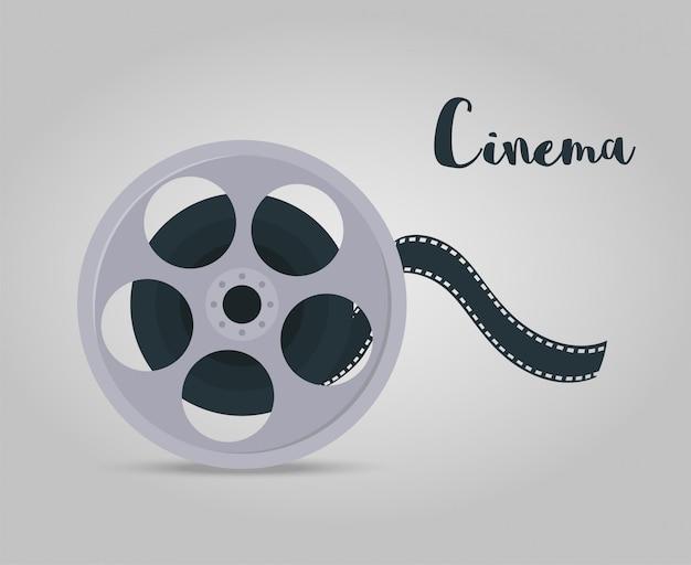 Disco de película con cinta para cine, cinematografía. Vector Premium