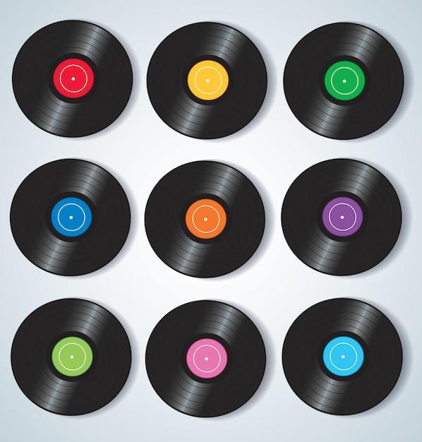 Discos de vinilo coloridos musica Vector Premium