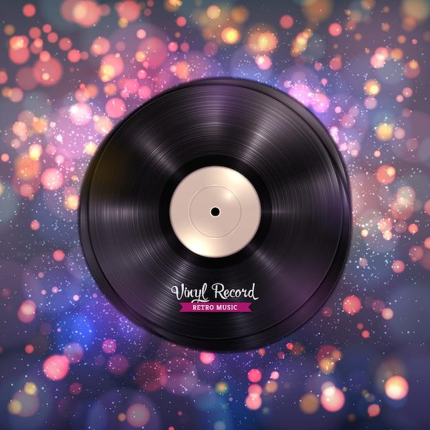 Discos de vinilo lp de larga duración música de fondo Vector Premium
