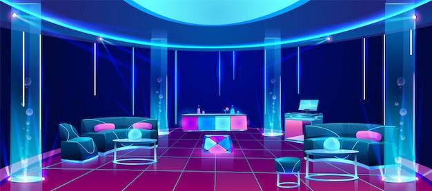 Discoteca interior con muebles. vector gratuito