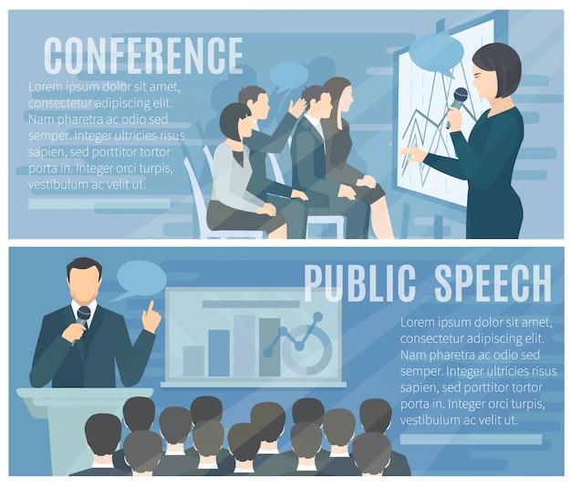 Discurso público a la audiencia en vivo y presentaciones de conferencias exitosas. 2 banners de composición plana. vector gratuito