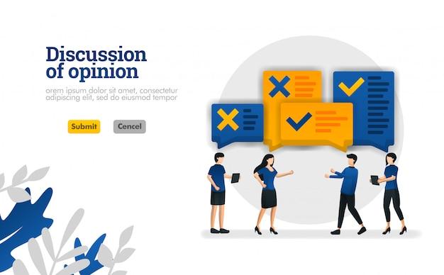 Discusión de opinión. con ilustraciones de personas que estaban debatiendo el concepto de ilustración vectorial. Vector Premium