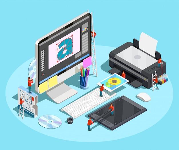 Diseñador gráfico concepto de espacio de trabajo vector gratuito