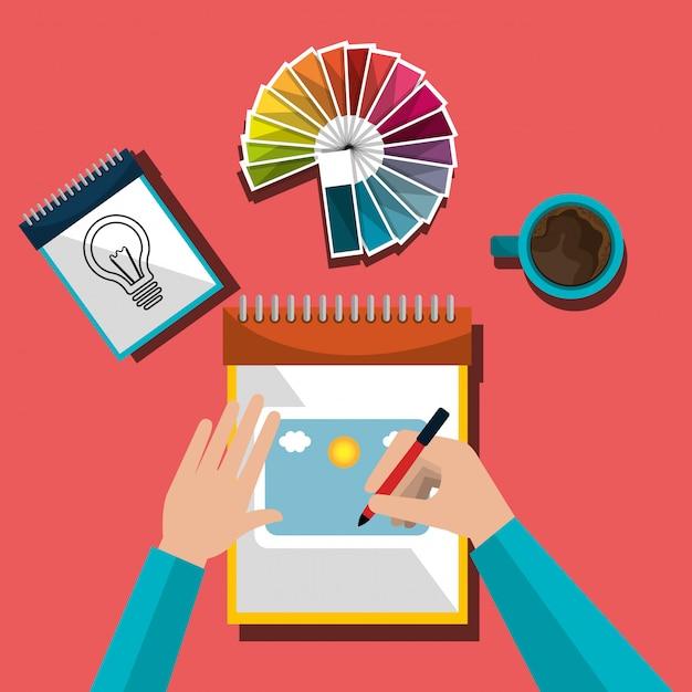 Diseñador gráfico de ideas creativas vector gratuito