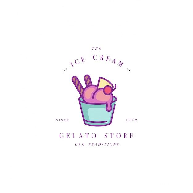 Diseñe el logotipo o el emblema colorido de la plantilla - helado, helado. icono de helado logotipo en moda estilo lineal aislado sobre fondo blanco. Vector Premium