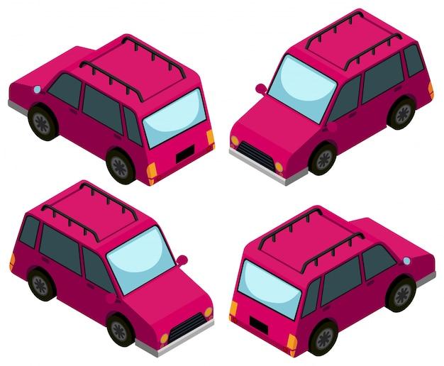 Diseño 3d para coches rosados vector gratuito