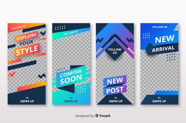 Diseño abstracto de historias de instagram vector gratuito