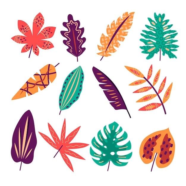 Diseño abstracto hojas tropicales vector gratuito