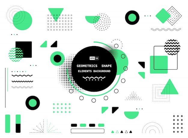 Diseño abstracto de memphis verde y negro de fondo decorativo del elemento de las ilustraciones. Vector Premium