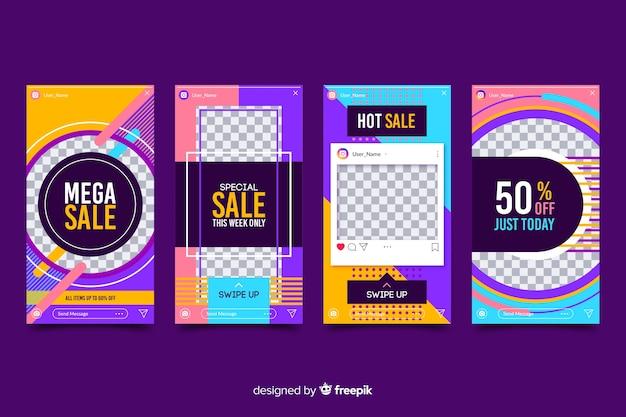 Diseño abstracto del paquete de historias de instagram vector gratuito