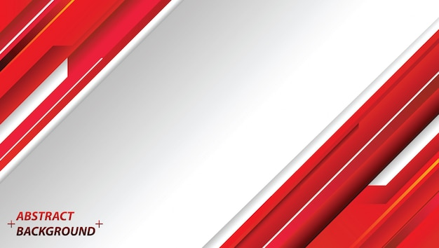 Diseño abstracto rojo y blanco de la tecnología del movimiento. vector de fondo corporativo Vector Premium