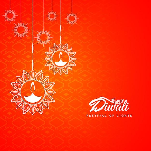 Diseño abstracto rojo de diwali Vector Gratis