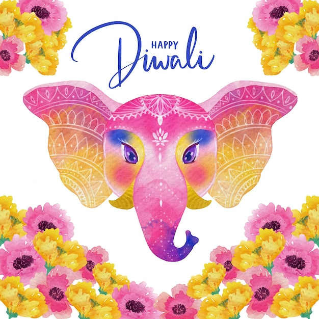 Diseño de acuarela diwali elefante colorido vector gratuito