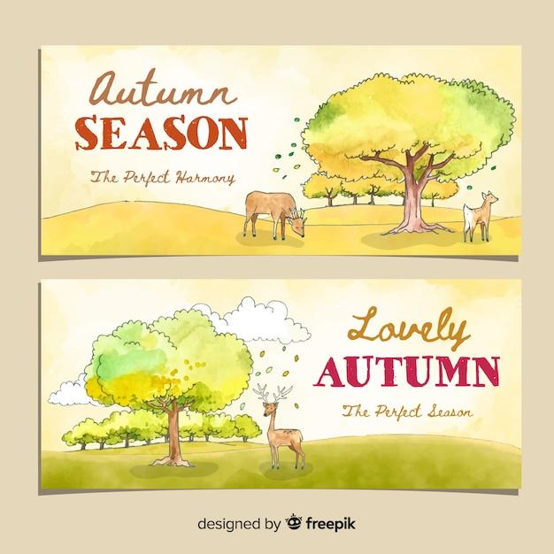 Diseño de acuarela de plantilla de banners de otoño vector gratuito