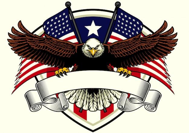 Diseño de águila calva sosteniendo la cinta en blanco con la bandera de estados unidos Vector Premium