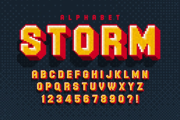 Diseño de alfabeto de píxeles, estilizado como en los juegos de 8 bits. Vector Premium