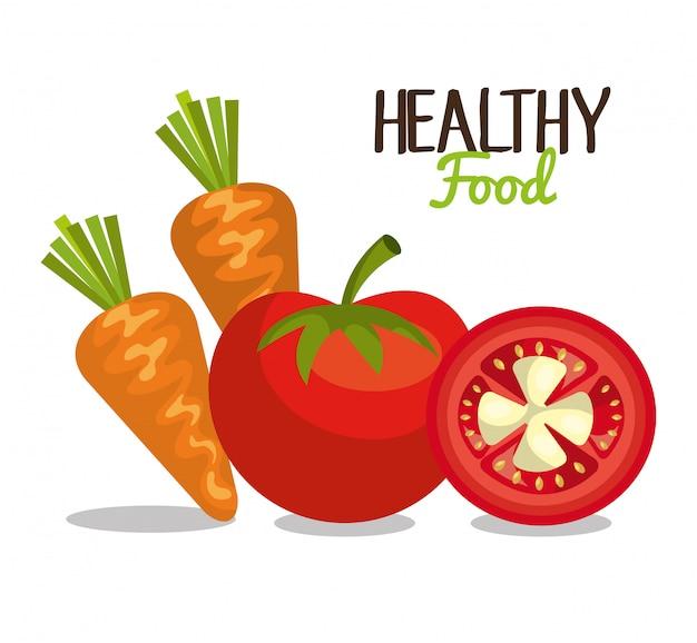 Diseño de alimentos saludables vector gratuito