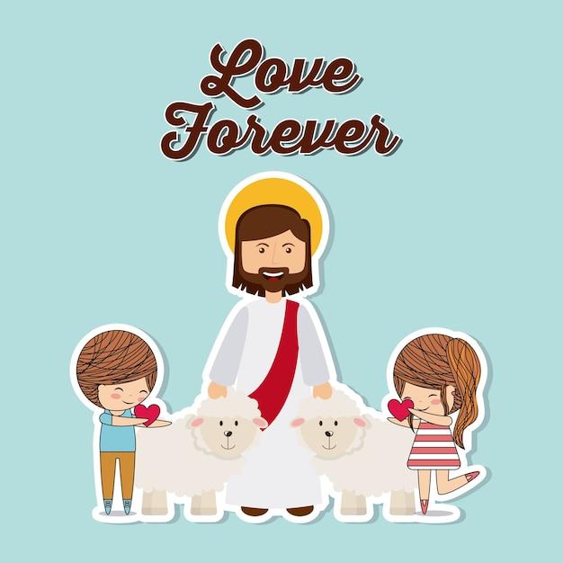 Diseño de amor católico Vector Premium