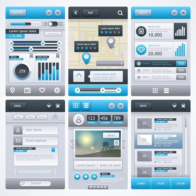 Diseño de aplicación móvil, ui, ux, gui. Vector Premium