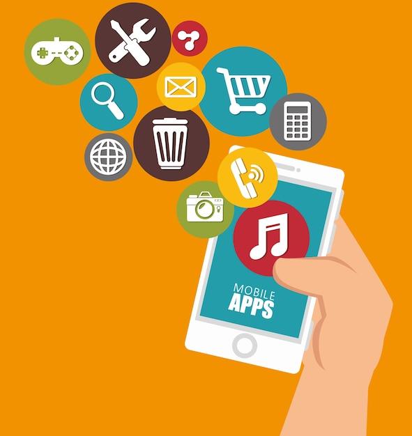 Diseño de aplicaciones móviles Vector Premium