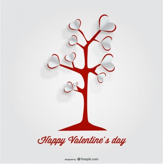 Diseño de árbol del corazón tarjeta de recorte de papel vector gratuito