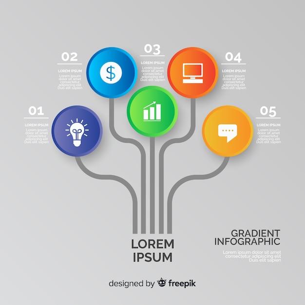 Diseño de árbol de infografía degradado vector gratuito