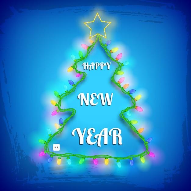 Diseño de árbol de navidad con luces de guirnalda de colores estrella y saludo en ilustración con textura azul vector gratuito
