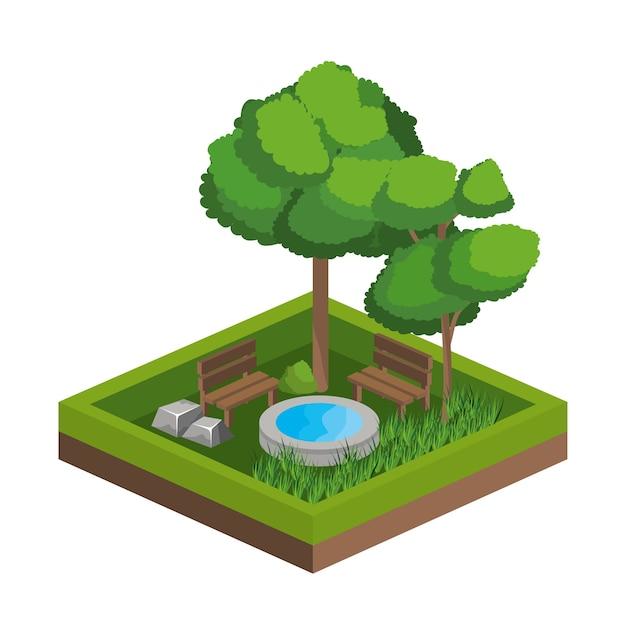 Diseno De Arboles Y Fuentes De Agua Descargar Vectores Premium - Diseo-de-fuentes-de-agua