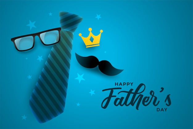 Diseño atractivo de la tarjeta del día de padres feliz en tema azul vector gratuito