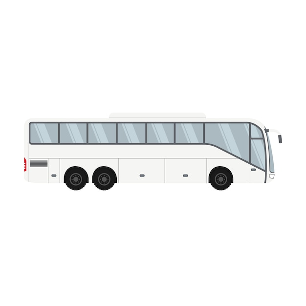 Diseño de autobuses de un piso para transporte y viajes. Vector Premium